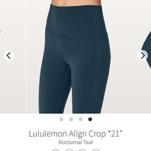 SOLD! Lululemon Align Crop Nocturnal Teal